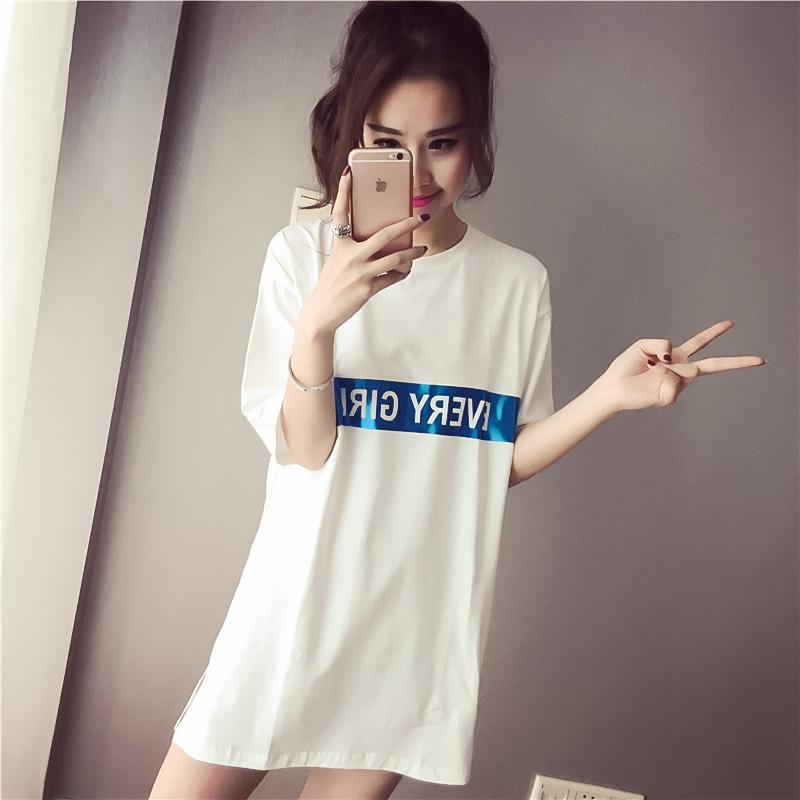 夏季新款韩版女装休闲宽松显瘦短袖字母印花中长款圆领套头连衣裙