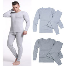 Middle-aged men's foundation base cotton underwear middle-aged men's cotton underwear set round collar solid color autumn clothing long pants