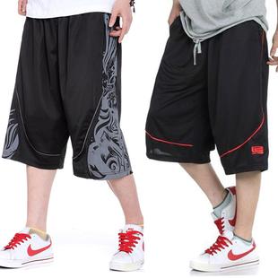夏季薄款篮球裤加肥加大码运动中裤男士透气薄款短裤五分裤大裤衩