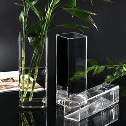 水晶玻璃透明方形花器百合富贵竹仿真插花四方花瓶摆件