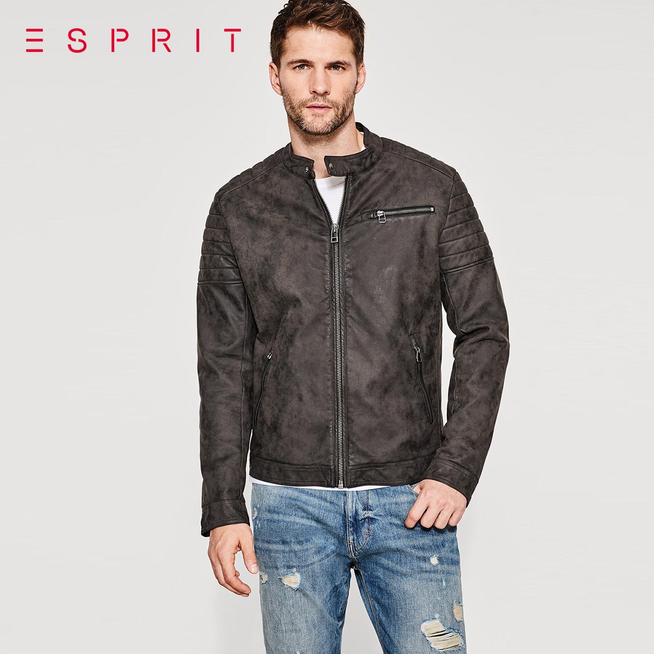 ESPRIT男装2017秋复古仿旧帅气立领夹克外套男-087EE2G015