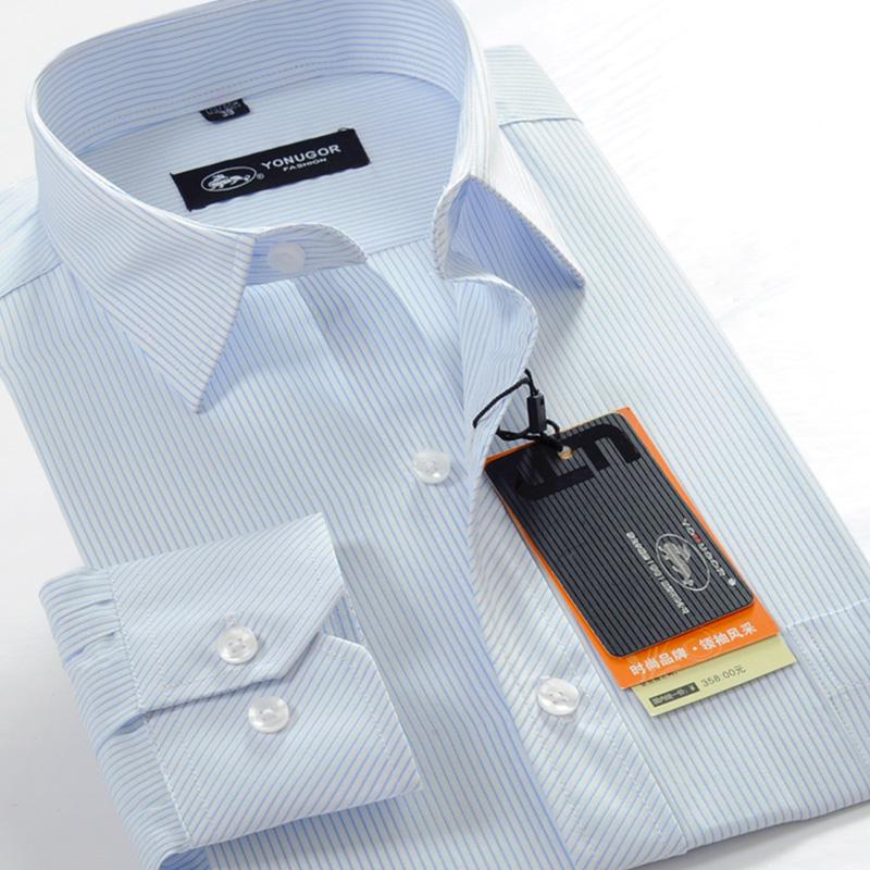 中年男衬衫长袖 商务休闲免烫中老年爸爸装条纹衬衣职业工装寸衫