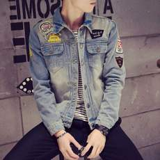 Spring men's personality denim jacket handsome hole jacket students retro Korean Slim denim jacket trend