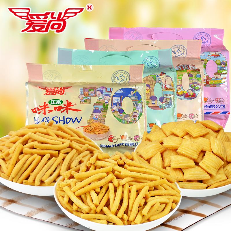 爱尚咪咪虾条年代SHOW三味组合324g零食大礼包小吃蟹味粒锅巴薯片