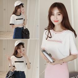 夏季韩国大码女装甜美学院风拼接刺绣圆领短袖T恤简约学生上衣服