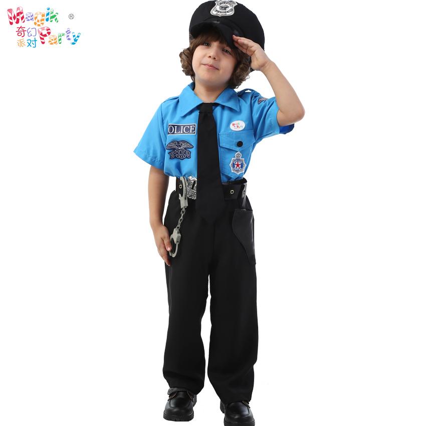 万圣节儿童演出服装Cosplay表演衣服  男童黑猫警察警长警官服饰