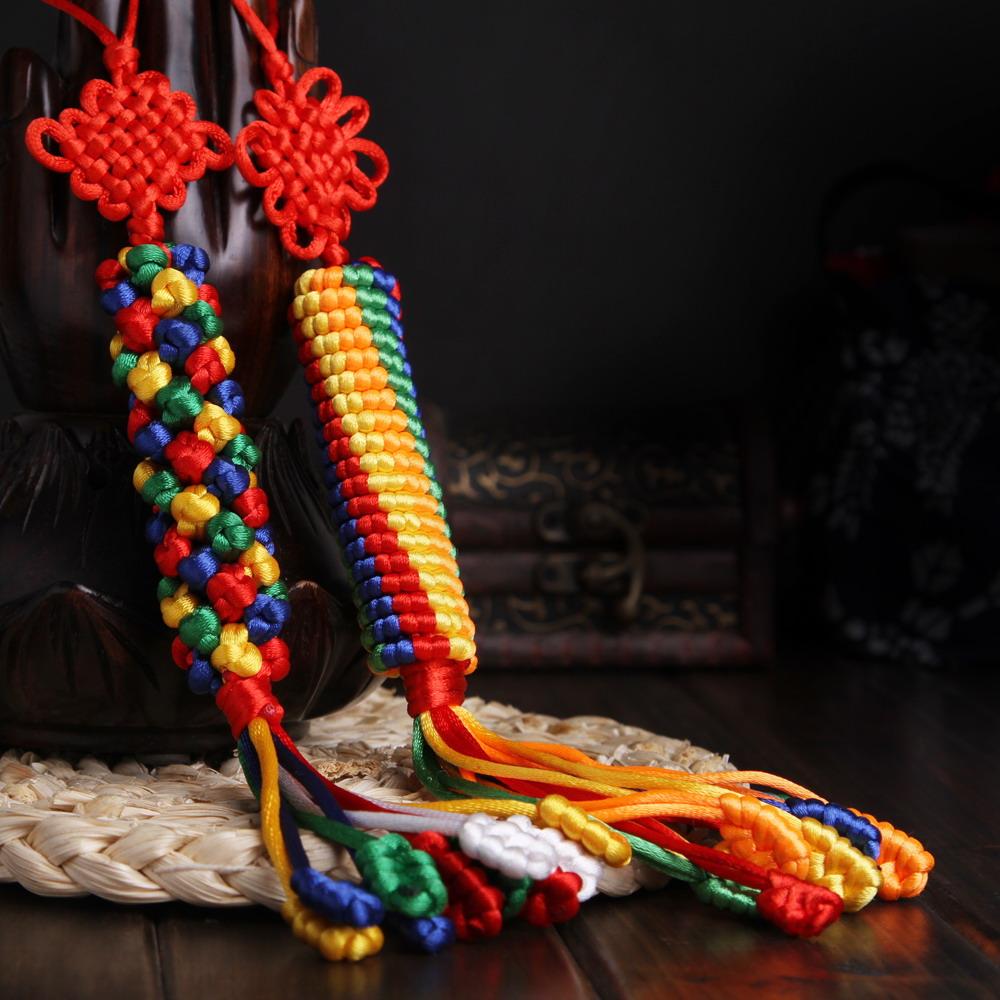 卡巴茨金刚结挂件汽车装饰品藏式五彩绳 手编吉祥菠萝中国结车挂