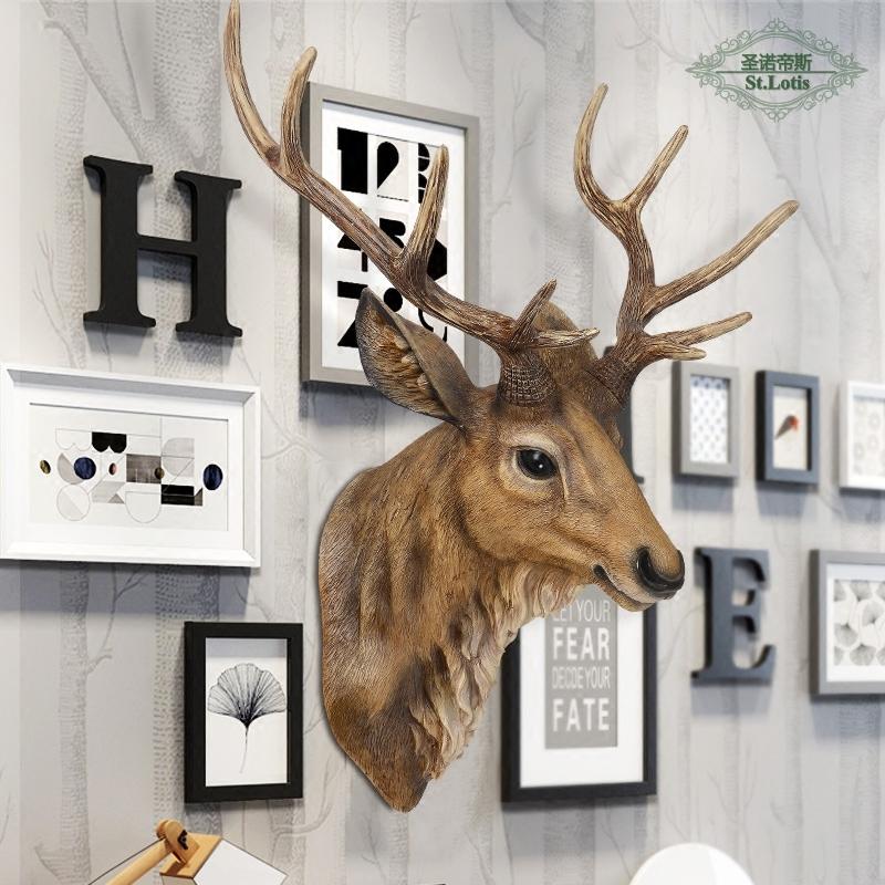 欧式仿真鹿头壁挂动物头壁饰复古墙面创意挂件客厅玄关墙上装饰品图片
