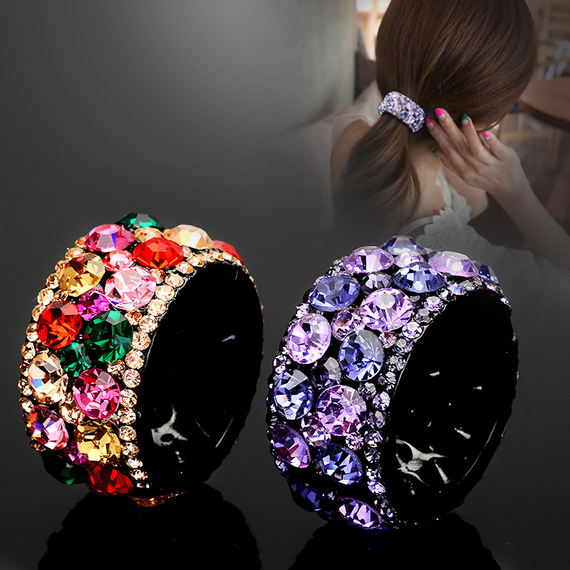 Fashion headdress new rhinestone hairpin ponytail buckle hair ring Korean version of ponytail clip hairpin adult tie hair jewelry