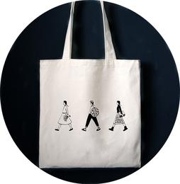 日系原创自制三人行复古简约文艺单肩包帆布袋购物包学院风女包包