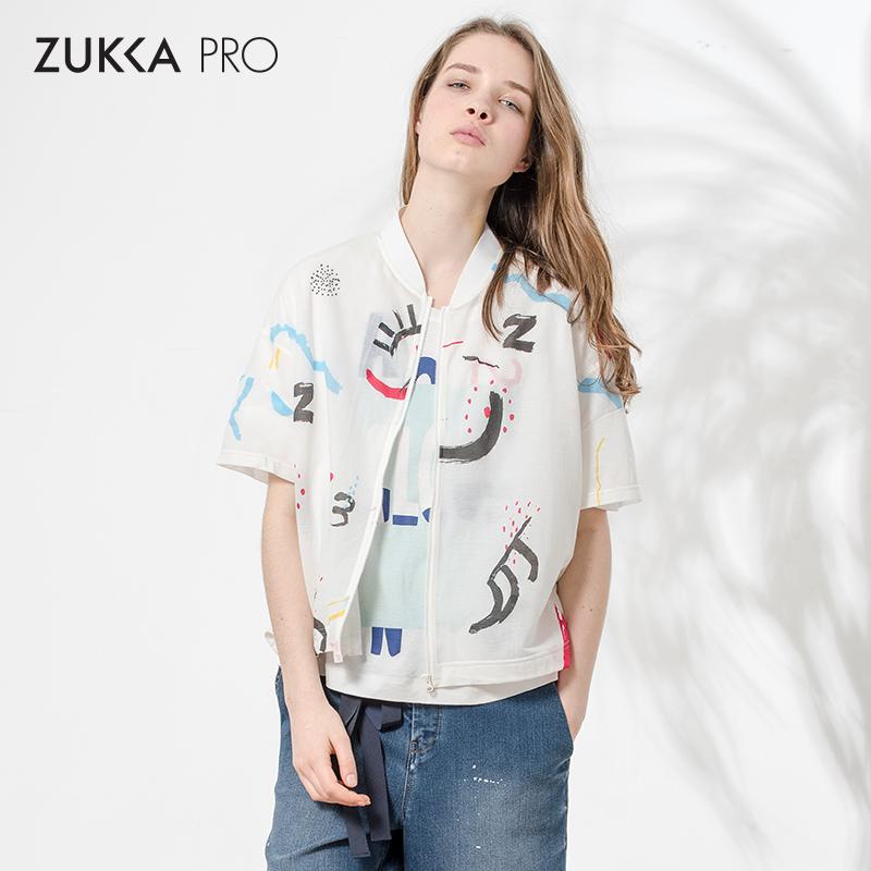 ZUKKA PRO夏季时尚创意涂鸦印花拉链短袖针织休闲短款外套