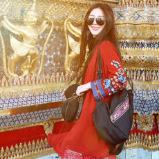 Two-person story original brand retro national style women's long embroidered knit jacket holiday spring and summer 2018