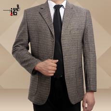 Spring and autumn men's suit middle-aged casual single suit men's jacket wool middle-aged dad wear coat lattice large size