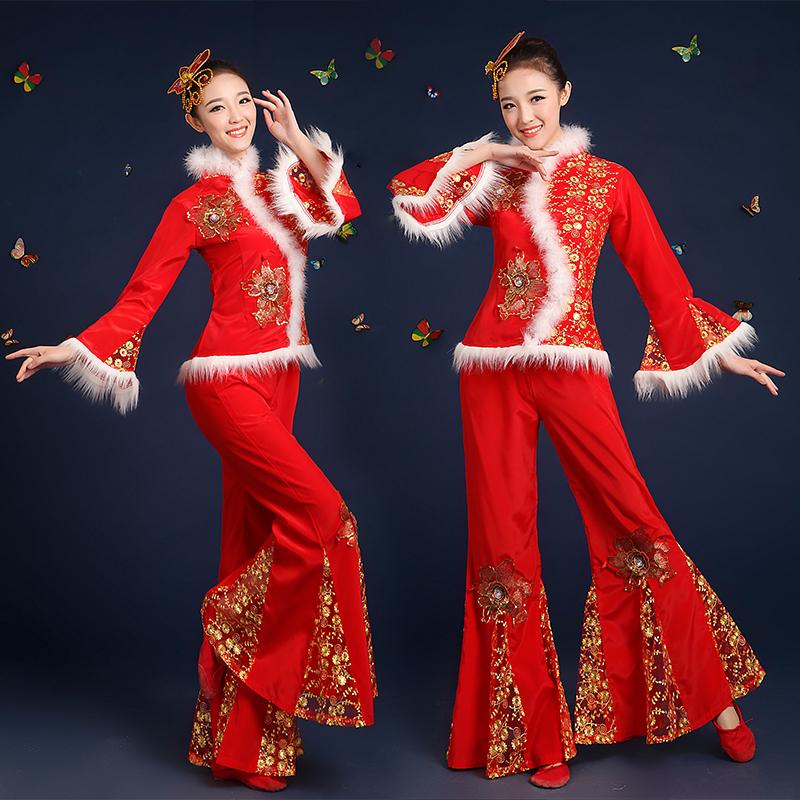 新款秧歌服春冬季2017古典舞蹈表演出服红色腰鼓服中老年扇子舞服
