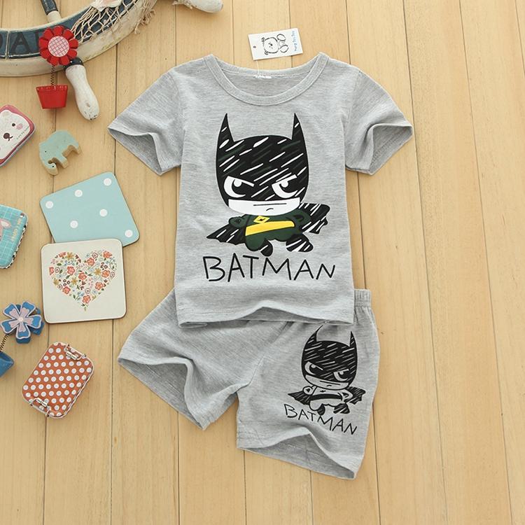 童装批发 厂家直销 宝宝小英雄套装 夏装新款儿童卡通短袖短裤潮