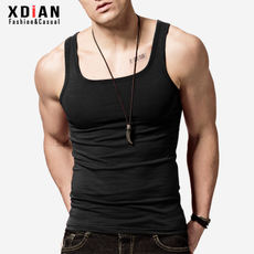 Men's side collar vest male cotton Slim youth sports fitness tight breathable hurdling base sweat summer tide