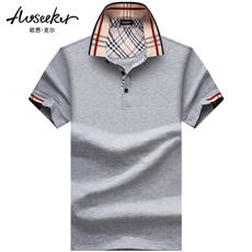 Men's short-sleeved T-shirt business lapels Men's short-sleeved men's short-sleeved plus fertilizer to lead the mercerized cotton polo shirt