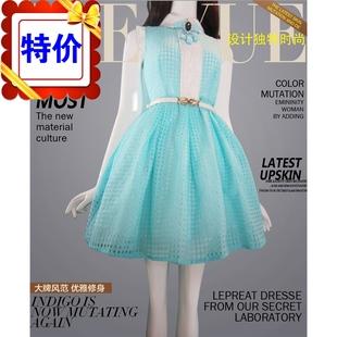 特价清仓夏装新款娃娃领雪纺超大摆蓬蓬连衣裙女公主裙仙女裙