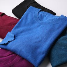 New product machine washable wool + cashmere sweater men's warm Slim men's round neck knit sweater men