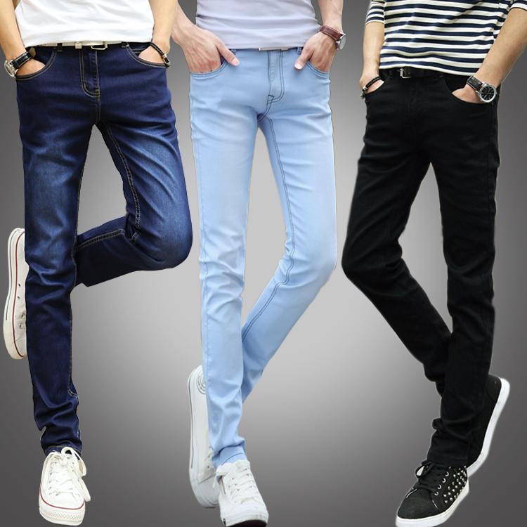 韩版牛仔裤男青年小脚裤夏季修身款弹力显瘦学生长裤子潮工裤耐磨
