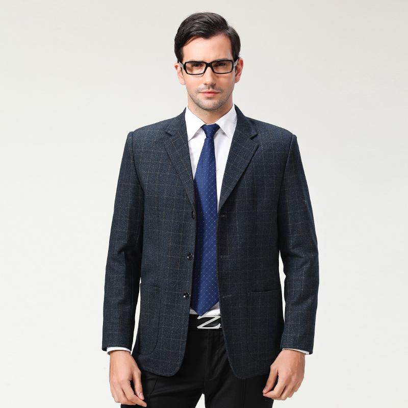 中年男士西服时尚中老年男装宽松大码休闲西装春秋爸爸装单西外套