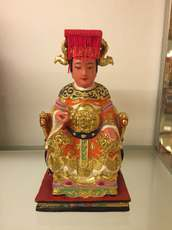 Woodcarving statue Mazu Linmo Tiantian Tianmu wood lacquer line carving traditional hand-made 20 cm collection level