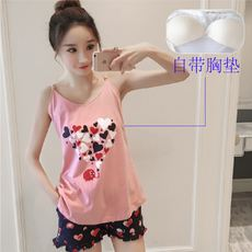 Summer with chest pad pajamas suspenders shorts cute Korean version of the girls cotton suit wear bra sweet home service