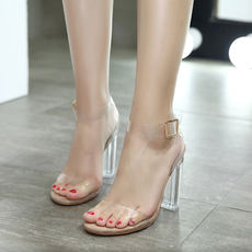Square with sandals female summer Korean version of the word buckle with thin bottom open toe shoes crystal thick with super high heel shoes