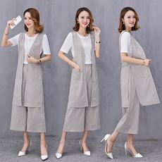 Summer new cotton and linen vest suit female Korean version of the comfort wide leg pants three sets of summer lazy fashion suit tide