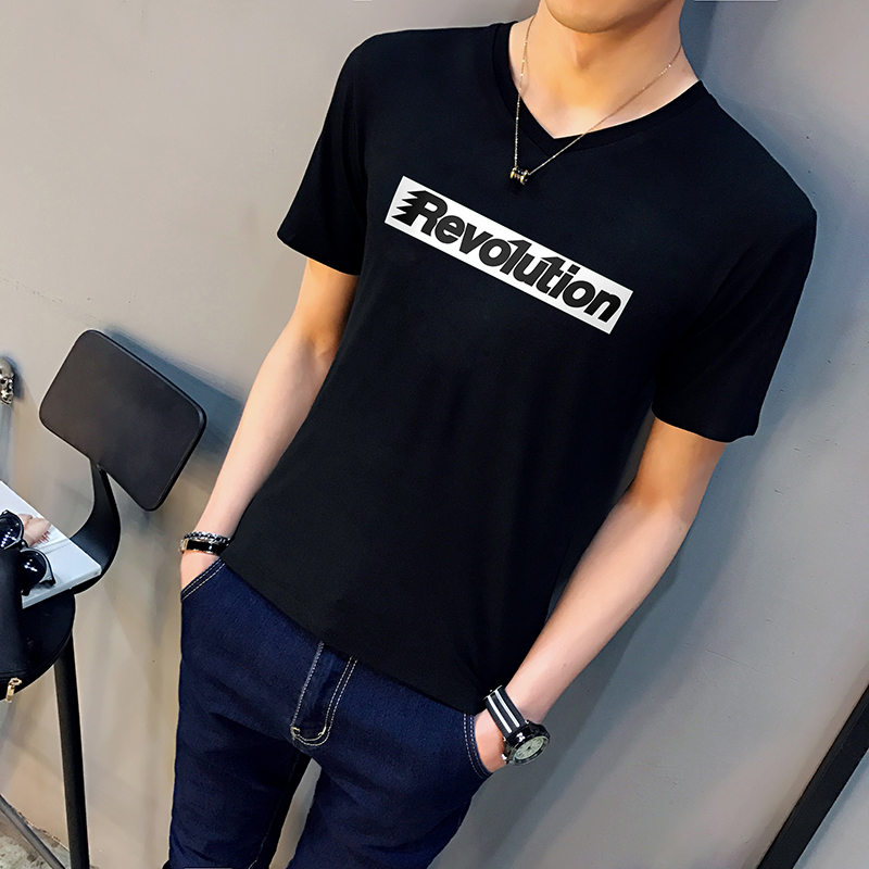 男士短袖t恤V领鸡心领纯白色纯黑色修身体恤紧身半袖半截袖打底衫