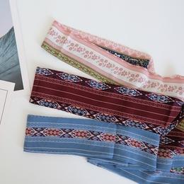 「波西米亚」细长小领巾图腾长条复古围巾绑腰带发带多用雪纺丝巾