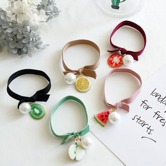 New fruit hair ring bow hair rope headdress Japanese and Korean version of sweet tie hair rubber band head rope hair accessories