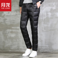 Winter youth large size outdoor leisure warm men's down pants wear slim thick high waist pants male