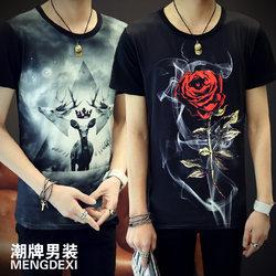 夏季t恤男短袖圆领半袖体恤韩版男装青少年印花修身潮男版T恤黑色