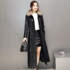 Autumn and winter new real fur collar fur coat female leather temperament slim slim long plus cotton jacket coat