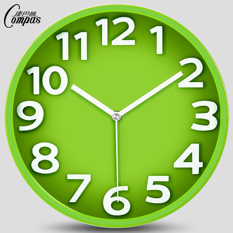 康巴丝14英寸静音钟表立体创意挂钟客厅挂表石英钟时尚现代时钟