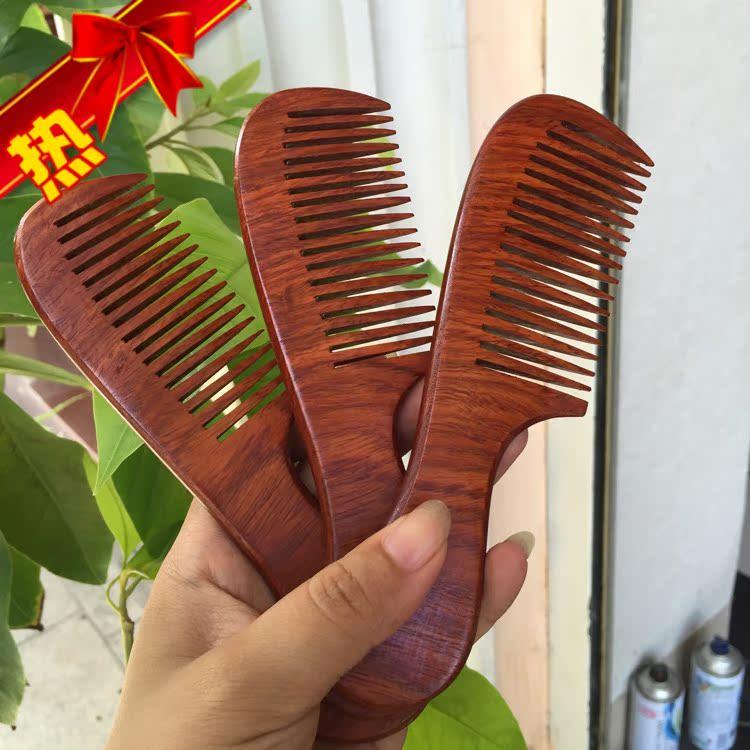 缅甸花梨木红木大果紫檀木雕梳子按摩梳无漆保健木梳实木工艺