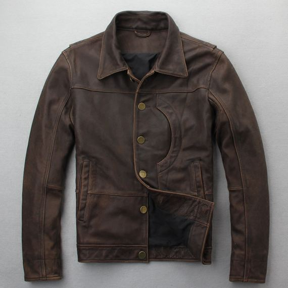 New spring new leather leather men Pakistan imported first layer leather lapel washed vintage old coat