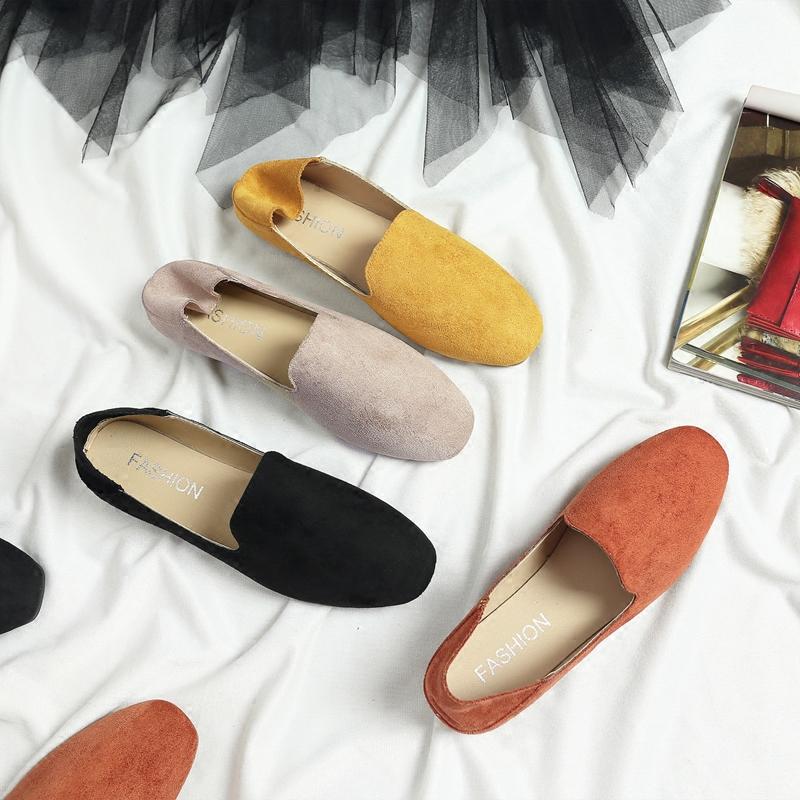 春鞋2018新款豆豆鞋女韩版单鞋平底方头瓢鞋学院英伦风女鞋懒人鞋