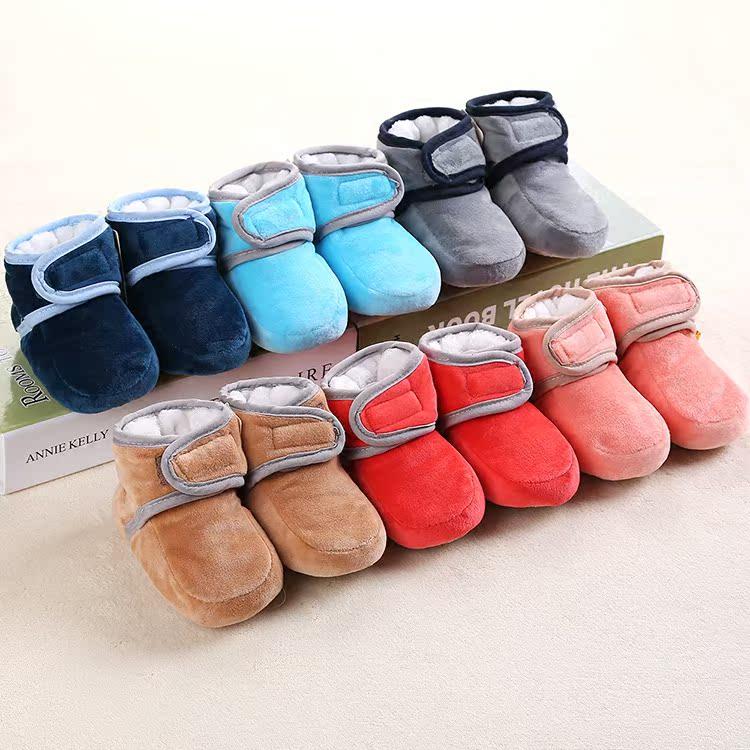 0-1岁冬季婴儿鞋软底学步鞋子男女宝宝加厚保暖摇粒绒新生儿棉鞋
