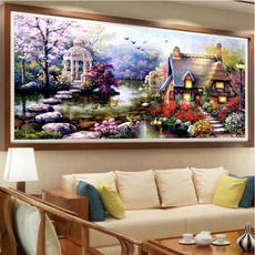 Cross stitch thread embroidery 2019 new living room bedroom garden cottage European small pieces full of embroidered landscape landscape painting small