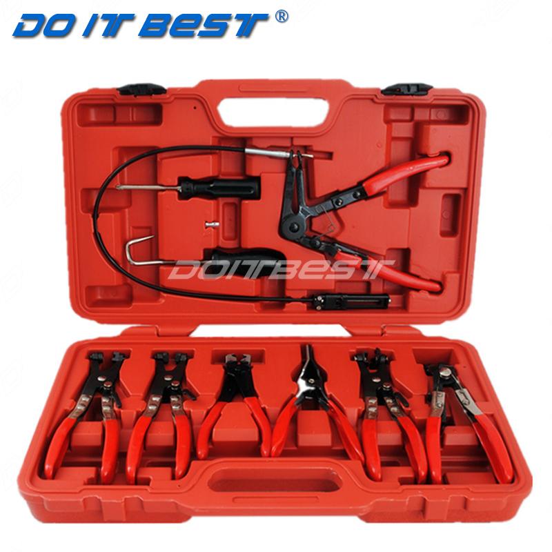 9件管束夹钳组套 汽车水管钳卡钳 直型喉式管束钳 卡扣钳 卡箍钳