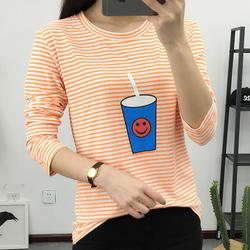 韩版女装秋天打底衫女长袖上衣t恤条纹圆领宽松大码显瘦体恤女潮
