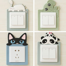 Switch wall sticker Korea simple cartoon protective cover creative living room bedroom sticky socket switch decorative sets