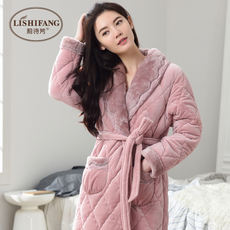 Nightgown female winter flannel warmth thickening plus long paragraph autumn and winter plus velvet pajamas three-layer quilted coral coral fleece bathrobe