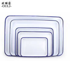 Ou Lijia enamel square tray with cotton balls rectangular enamel tray experimental tray acid and alkali resistant tray