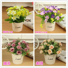 Fake flower pot plastic flower mini bonsai interior decoration flower simulation bouquet small furnishings living room plastic flowers