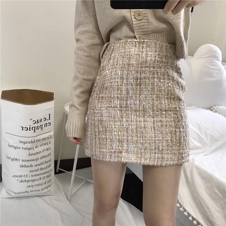 包邮2017女装秋冬名媛粗花呢包臀修身半身裙