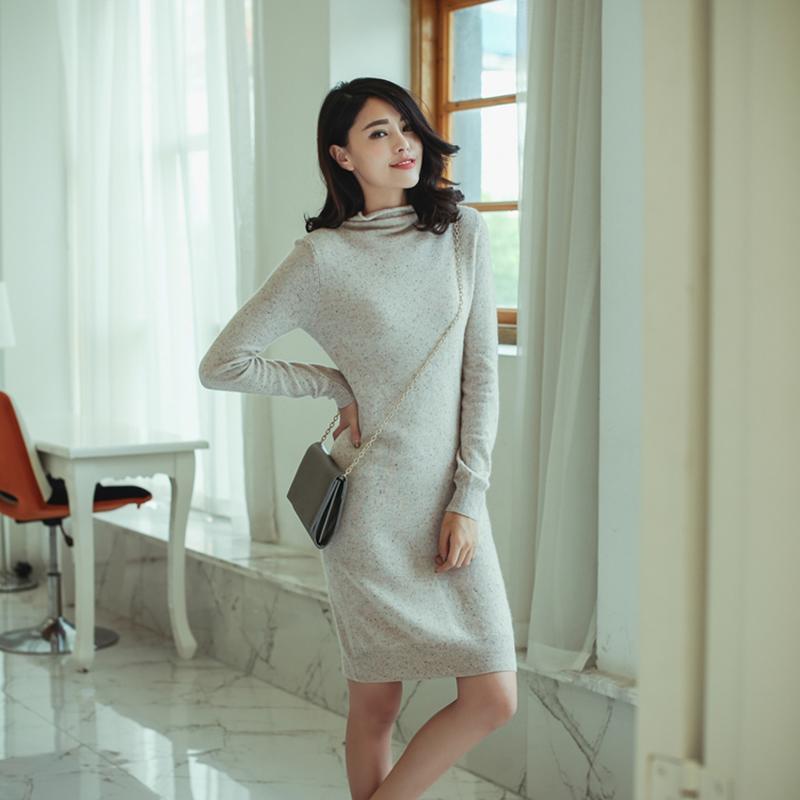 薄款全羊绒彩点子纱修身小宽松麻点堆堆领高领长款到膝盖连衣裙女