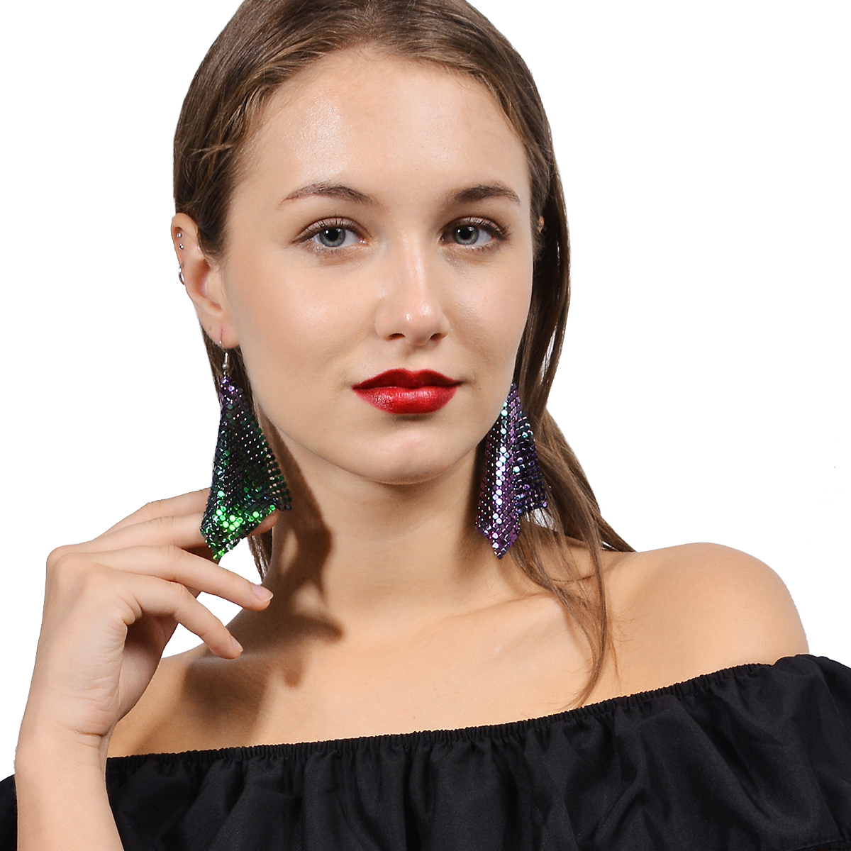 铝网亮片耳环 欧美时尚潮人个性创意款不规则铝片ins 红人耳 饰品